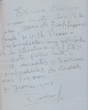 Dedicatoria de Enrique Morente. 2009